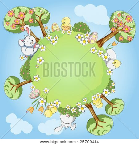 Easter greeting card - World of chicks and bunnies - Every object grouped for your easy use
