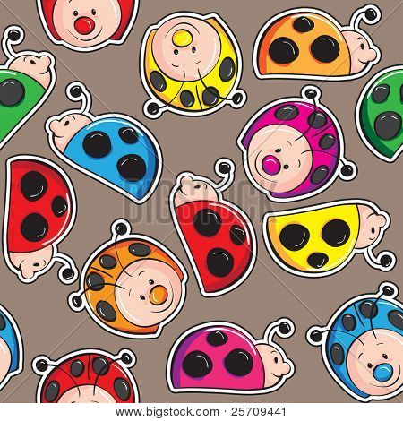 Seamless pattern - Colorful cute ladybugs