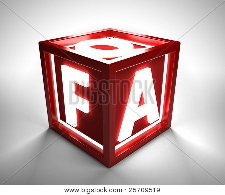 Red box with FAQ letters - clipping path included