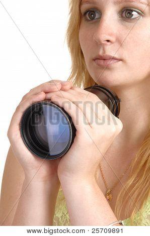 Girl Holding A Lens.