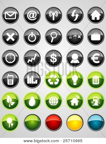 Icon Set for business, web and environmental green Vector