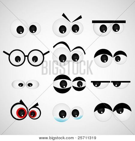 Ojo dibujos animados set ilustración vectorial