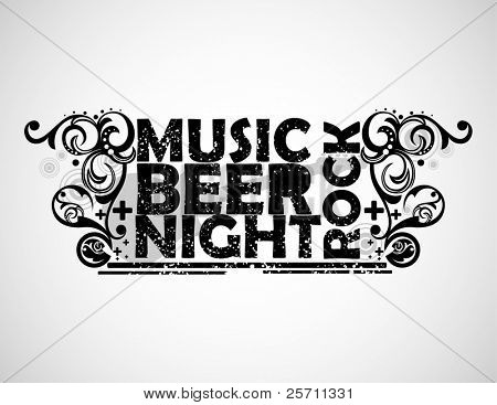 Music, beer, night and rock background