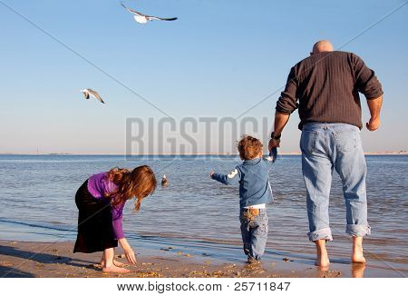 Dad, Kids, and Gulls