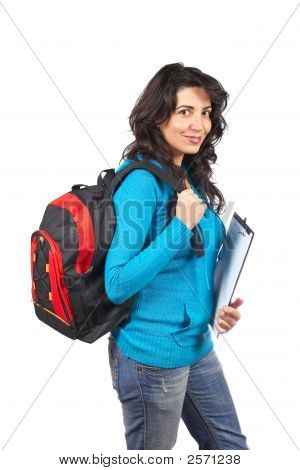 Student Woman With Backpack