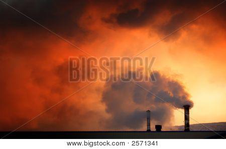 Global Warming Chimneys At Dawn