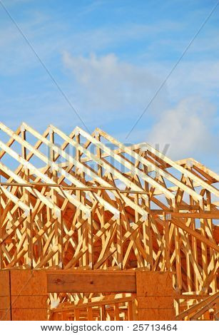 Roof rafters of house under construction