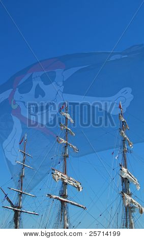 Clipper Ship with Pirate Flag Waving in Background