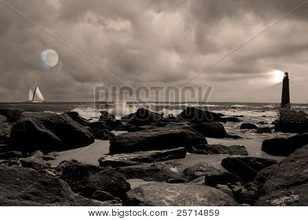 Lighthouse at Rocky Shore with Boat and Moon in Distance