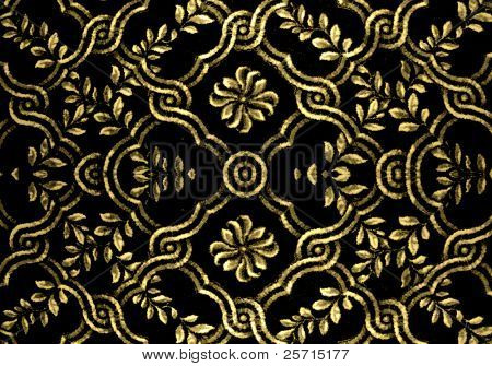 Gold and Black Woven Textile Material