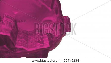 Pink Plastic Piggy Bank with Money Inside