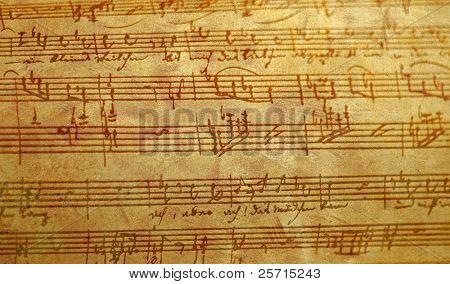 Antiqued Hand Written Sheet Music