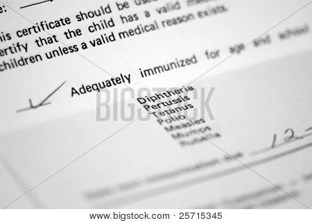 Registro de vacunas del niño para el ingreso de la escuela