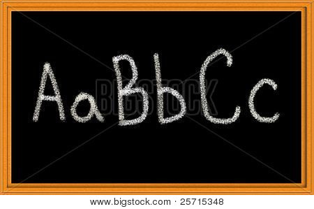 Chalkboard with A B C in Upper and Lower Case