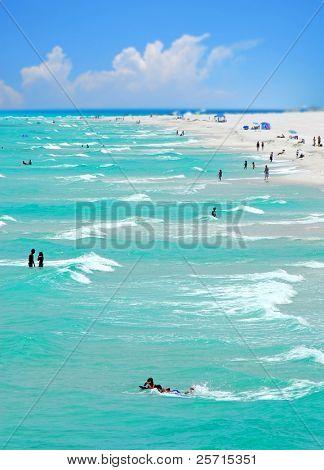 Swimmers on Beautiful Beach