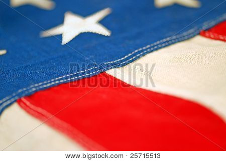 Aged Hand Sewn American Flag with Shallow Focus