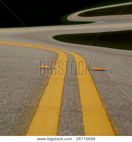 Very Curvy Road at Dusk