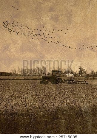 Vintage Farmer Plowing Field
