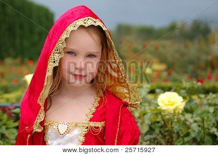 Young Girl in Fancy Gown in Rose Garden