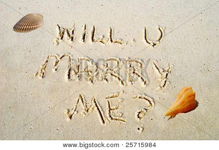 Will U Marry Me Written by Seashell in Sand