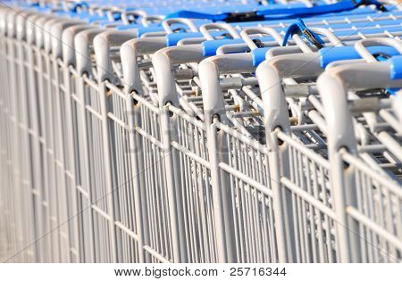 Grocery Carts in a Row