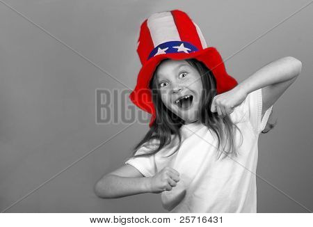 Exuberant Young Girl With Patriotic Hat