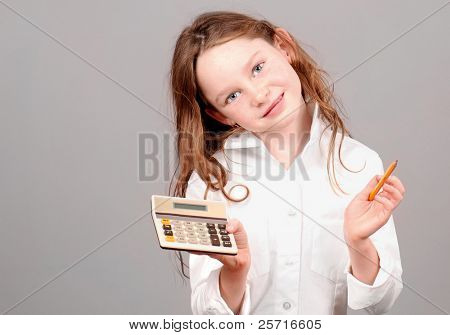 Young Girl with Calculator and Pencil