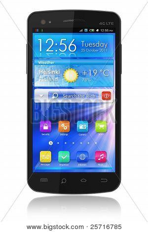 Zwarte glanzende touchscreen smartphone