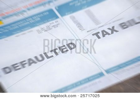 Defaulted tax bill with zoom blur