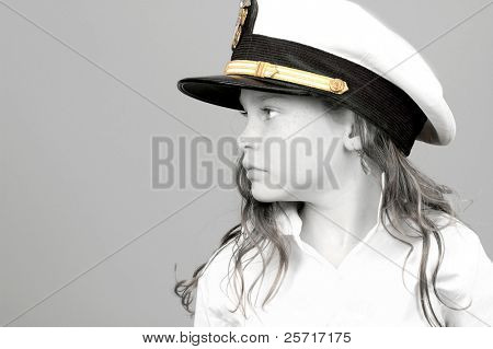 Young Girl Wearing Navy Sailor Hat