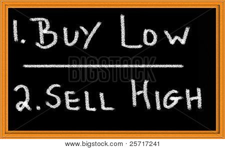 Buy Low, Sell High written on blackboard with chalk