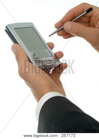 Businessman's Hands With Palmtop