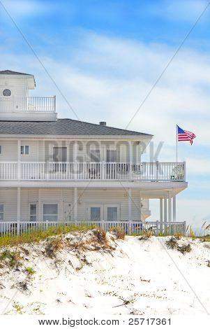 Coastal Building with American Flag blowing in the wind