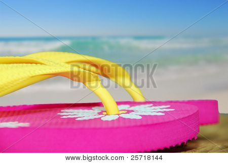 Pretty flip flop sandals on dock next to ocean