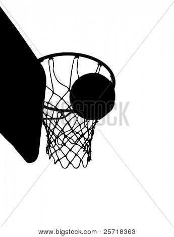 Silhoutte of basketball going through hoop in isolation