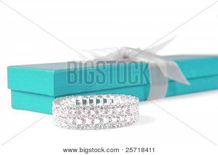Beautiful diamond bracelet beside elegant gift box
