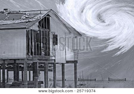 House destroyed by hurricane with storm overlay