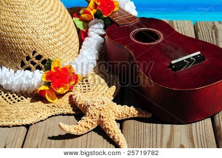 Colorful array of beach accessories and ukelele on dock