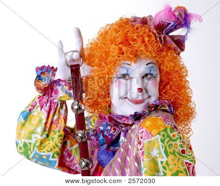 Flirty Female Clown With Jingle Bells