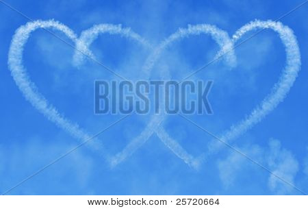 Skywriting hearts in clouds linked together