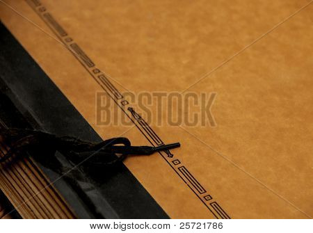 antique photo album with tie binder