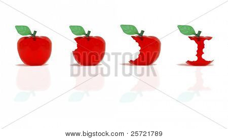 Set of apples from whole to partially eaten