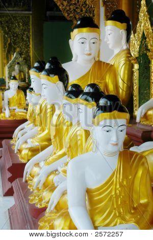 Budda Statues In Buddist Temple
