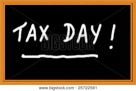 Tax Day written on chalkboard