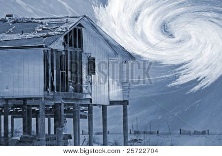hurricane damaged coastal home with storm overlay