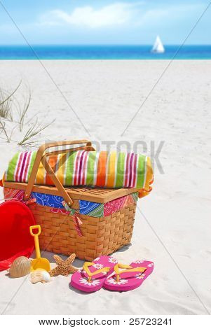 Pretty picnic basket and beach supplies at seashore