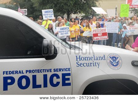 PENSACOLA, FL - SEPTEMBER 17: Protesters in Pensacola support highschool educators on September 17, 2009. The educators are on federal trial following the ACLU charge that they prayed in school.