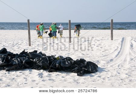 PERDIDO KEY, FL - JUNE 9: Garbage bags filled with potentially tainted seawood lie on the beach as BP oil spill workers clean the beaches on June 9, 2010 in Perdido Key, FL.
