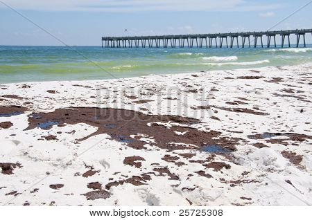 PENSACOLA BEACH - JUNE 23:  Oil covered sand is shown on June 23, 2010 in Pensacola Beach, FL