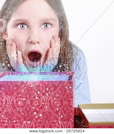 young girl surprised by present